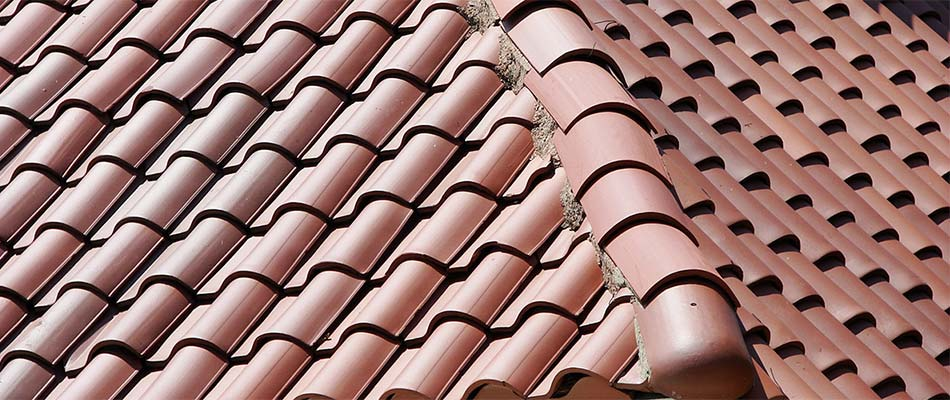 Close up of tile roofing installed by Reyes Adobe District roof company.