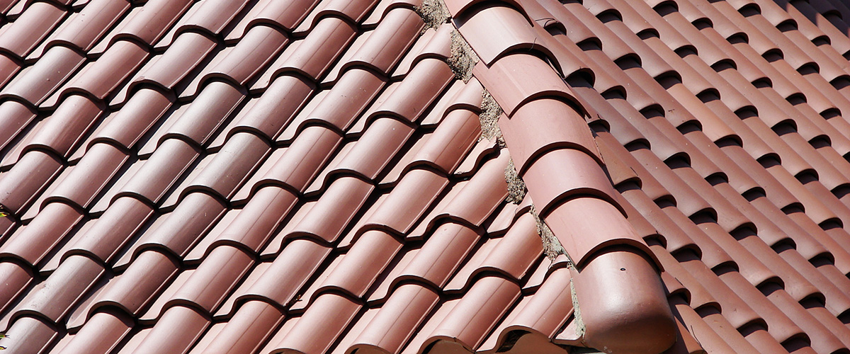 Close up of tile roof installed by tile roofing companies near Malibu, CA.